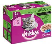 Whiskas multipack maaltijdzakjes 7+ vis en vlees in saus