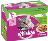 Whiskas multipack maaltijdzakjes vlees en vis met groente in gelei